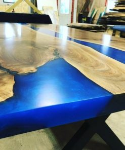 Blue Epoxy River Wood Kitchen Table - 1 - Woodify