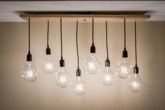 Custom Dining Table Wooden and Edison Bulb Chandelier Lighting - 1 - Woodify