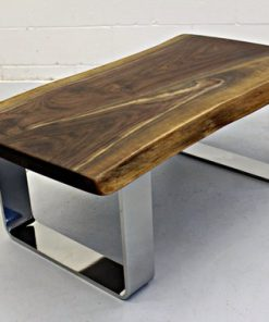 Live Edge Black Walnut Coffee Table with Chrome Legs - 1 - Woodify