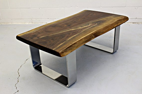 Live Edge Black Walnut Coffee Table with Chrome Legs - 1 - Woodify