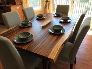 Live Edge Dark Acacia Wood Dining Table - 1 - Woodify