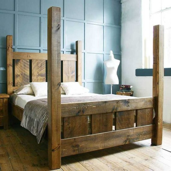 Reclaimed Rustic Barn Wood Bed Frame