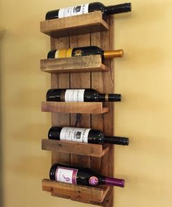 Solid Wood Wall Mounted Wine Rack - 5 Bottles - Woodify