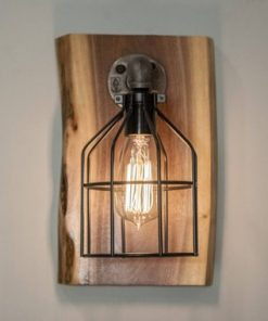 Steampunk Wood Edison Wall Sconce Light Fixture