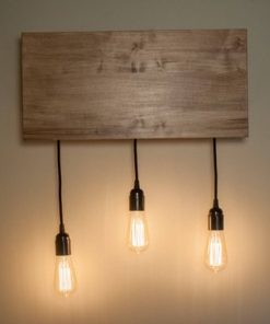 Wooden Kitchen Wall Sconce Lighting Fixture featuring 3 pendants with Edison Bulbs - 1 - Woodify