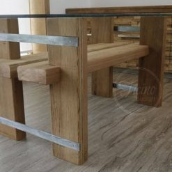 Handmade Dining Table Reclaimed Wood Glass Top - 2 - Woodify