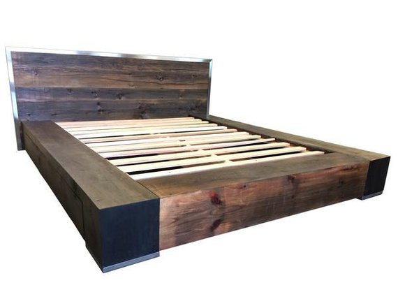 Industrial Style Barnwood Bed Frame Woodify Canada