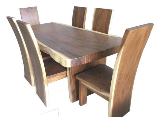 Live Edge Suar Slab Dining Table (200cm) with Slab Wooden Legs - Woodify