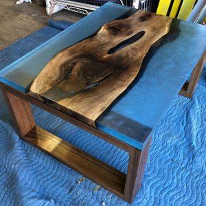Metallic Blue Walnut Casted Resin Tablem - Woodify