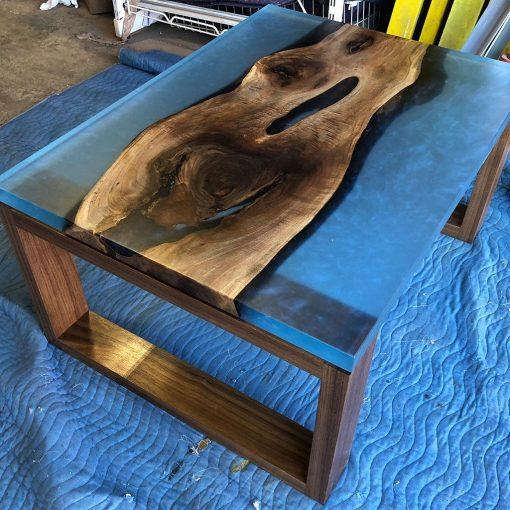 Metallic Blue Walnut Casted Resin Tablem - Woodify