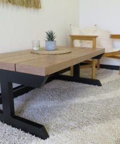 Modern Metal & Cherry Coffee Table - 1 - Woodify