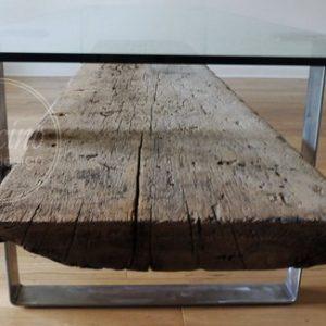 Reclaimed Industrial Wood Coffee Table Metal Legs - 1 - Woodify