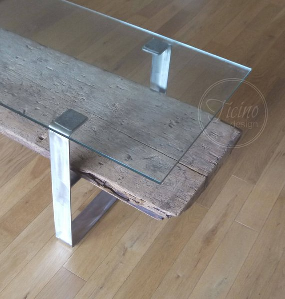 Reclaimed Wood Coffee Table Stainless Steel Legs: Reclaimed Industrial Wood Coffee Table Metal Legs