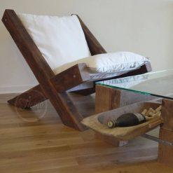 Reclaimed Wood Lounge Chair - 2 - Woodify