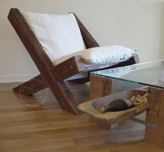 Reclaimed Wood Lounge Chair - Woodify