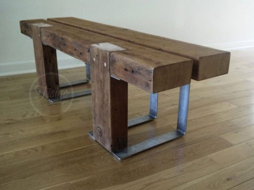 Rustic Industrial Style Bench with Metal Legs - 3 - Woodify