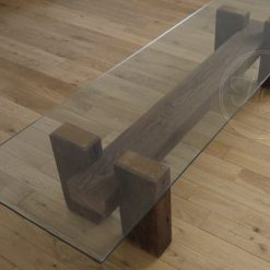 Rustic Reclaimed Wood Coffee Table Glass Top - 1 -Woodify