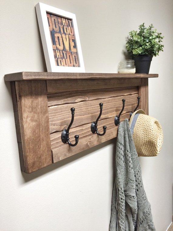 Rustic Wooden Entryway Walnut Coat Rack - 2 - Woodify