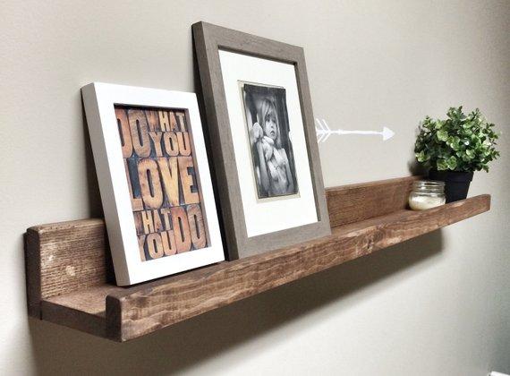 Rustic Wooden Picture Ledge Shelf