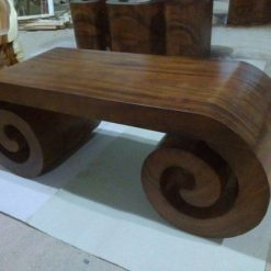 Solid Wood Scroll Shape Coffee Table - 1 - Woodify