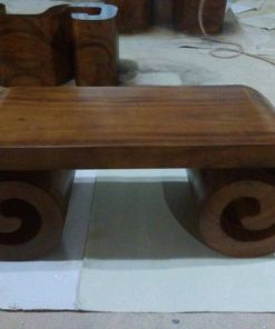 Solid Wood Scroll Shape Coffee Table - 2 - Woodify