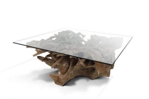 Teak Root Coffee Table (Irregular Shaped) with Glass Top - 1 - Woodify