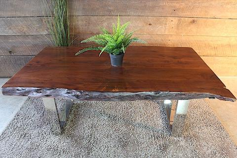 Acacia Honey Walnut Live Edge Wood Coffee Table with Chrome U Shaped Legs - Woodify