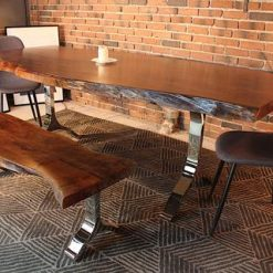 Acacia Live Edge Dining Table With Chrome Y Shaped Legs Honey Walnut - Woodify
