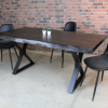 Acacia Live Edge Dining Table with Black X Shaped Legs Walnut Color - Woodify - 1