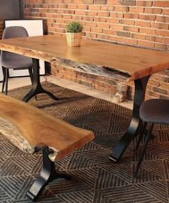Acacia Live Edge Dining Table with Black Y Shaped Legs - Natural Color