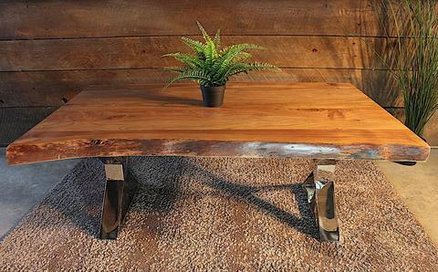 Acacia Natural Live Edge Wood Coffee Table with Chrome X Shaped Legs - Woodify