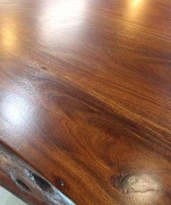 Live Edge Acacia Dining Table With Black U Legs - Honey Walnut - 1 - Woodify