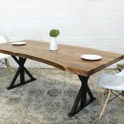Live Edge Acacia Wood Table with Black Farmhouse Legs Natural - Woodify