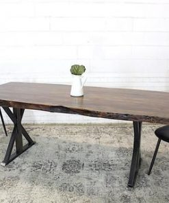 Live Edge Acacia Wood Table with Farmhouse Brushed Metal Legs Honey Walnut - Woodify