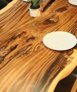 Live Edge Suar Table with Black Y Shaped Legs Natural Finish - 4 - Woodify
