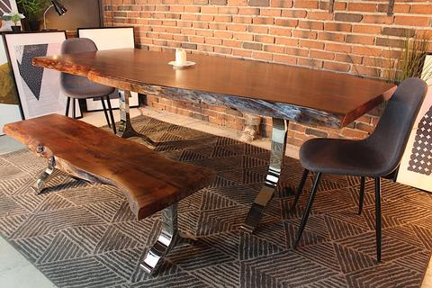 Acacia Live Edge Dining Table With Chrome