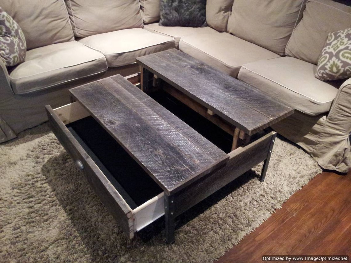 Pop Up Coffee Table.Old Barn Wood Pop Up Coffee Table With Clear Coat