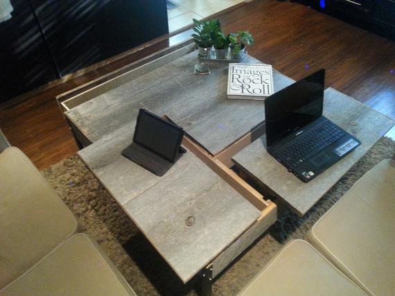Double Pop up Barn Wood Coffee table - 1 - Woodify