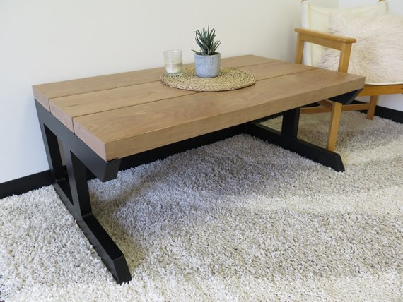 Modern Metal & Cherry Coffee Table