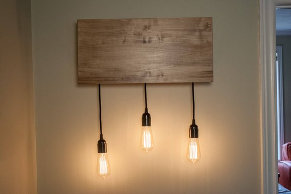 Wooden Kitchen Wall Sconce Lighting Fixture