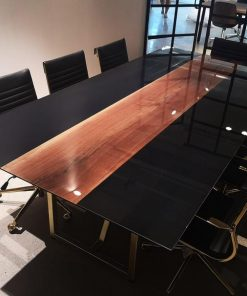 Black Epoxy Boardroom Table - Woodify