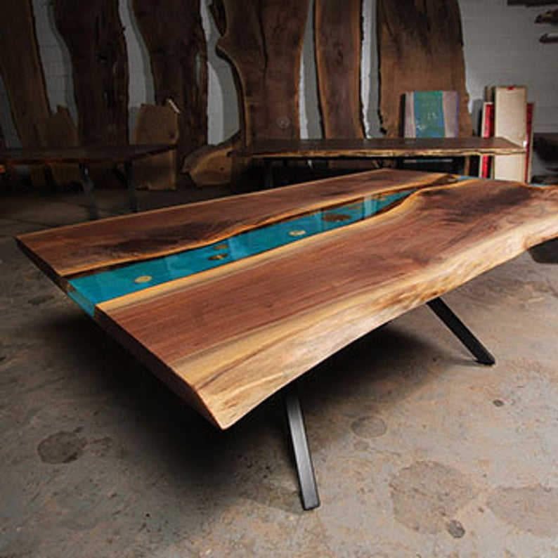 Live Edge Walnut River Dining Table with K shaped legs ...