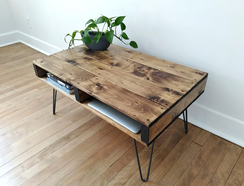 Pallet Coffee Table Finished In Walnut With 12 Industrial Hairpin Legs Modern Rustic Reclaimed Furniture