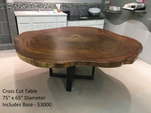 Amazing Wood Slab cross cut table finished with metal legs - Woodify Canada