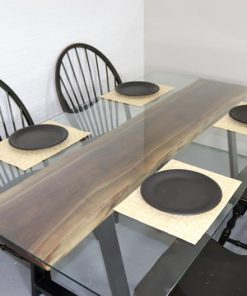 Walnut Slab Dining Table with Glass Top - Woodify Canada
