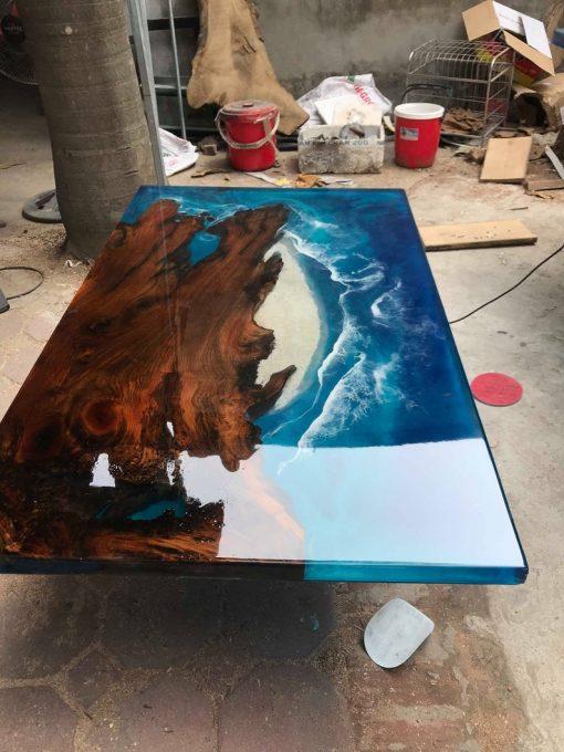 Blue Epoxy River Ocean Table - Woodify