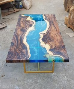 Blue Epoxy River Resin Coffee Table