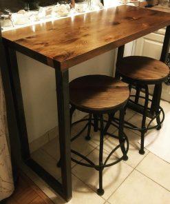 Industrial High Bar Tables Walnut - Woodify