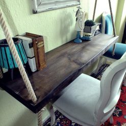 Unique Wall Mounted Black Walnut Hanging Desk - Woodify 5