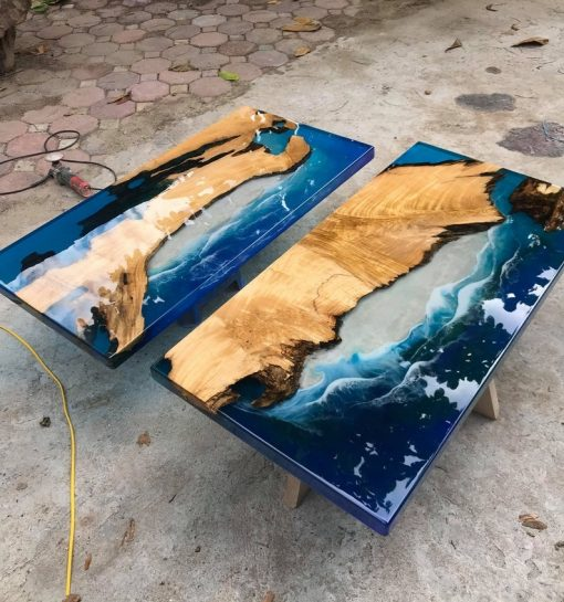 Epoxy Ocean Live Edge Coffee Table